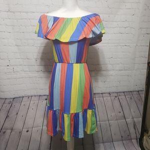 ASOS Sz 4 NWT Off Shoulder Rainbow Stripe Dress
